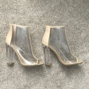 Clear Tan Zip Booties - Size 7